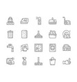 set cleaning line icons housewife iron towel vector image