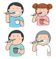 set of children brushing teeth vector image