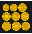 set of coins with numbers for table casino games vector image vector image