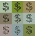 Set of dollars2 vector image vector image