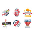 skateboarders people tricks silhouettes sport vector image vector image