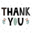 thank you cute hand drawn lettering with flowers vector image
