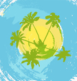 The abstract island at the ocean with palm trees vector image