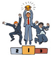 three businessmen jumping on winning podium with vector image vector image