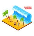 tsunami isometric vector image vector image