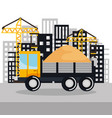 under construction vehicle truck sand building vector image vector image