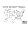 usa map and american flag outline style vector image vector image