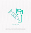 vaccination injection in hand thin line icon vector image