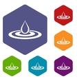 Water drop and spill icons set vector image vector image