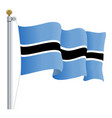 waving botswana flag isolated on a white vector image vector image