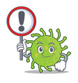with sign green bacteria character cartoon vector image