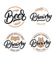 set of beer and brewery hand written lettering vector image