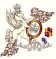 antique heraldic design winged horse and swirls vector image vector image