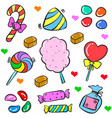 art food candy various in doodle style vector image vector image
