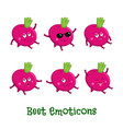 beetroot smiles cute cartoon emoticons emoji icons vector image vector image
