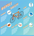 bicycle safety concept infographic set of vector image