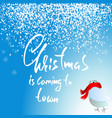 bird with knitted red scarf christmas lettering vector image
