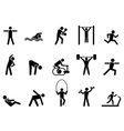 black fitness people icons set vector image vector image