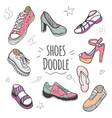 boots colorful doodle collection vector image vector image
