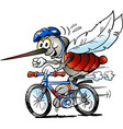cartoon a happy mosquito on a bike vector image