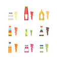 cartoon sauces bottle set vector image