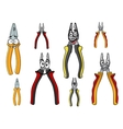 Cartooned funny pliers with colorful handles vector image vector image