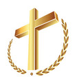 christian gold cross icon vector image