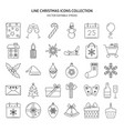 christmas icons set in thin line style vector image vector image