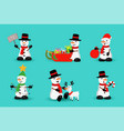 christmas snowman funny holiday cartoon set vector image vector image