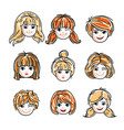 collection cute smiling girls faces expressing vector image vector image