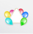 colorful balloons with a banner for text on a vector image