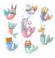 cute animals with mermaid tails collection vector image vector image