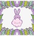 cute rabbit cartoon animal cloud foliage vector image vector image