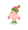 cute soy bean character wearing knitted hat and vector image vector image