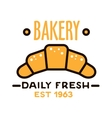 Daily fresh bakery shop icon with linear croissant vector image