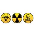 danger warning yellow signs vector image vector image