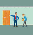 dismissal worker poster boss chuck out vector image vector image