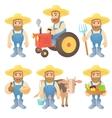 Farmer concept set cartoon style vector image
