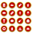 fast food icon red circle set vector image vector image