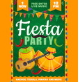 fiesta party flyer with mexican costumes vector image