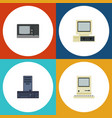 flat icon computer set of vintage hardware vector image