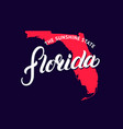 florida state hand written lettering word and map vector image vector image