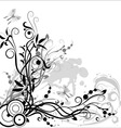flower composition in black and white colors on a vector image