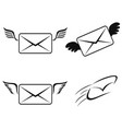 Fly email icons set vector image