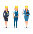 girls engineers designers in branded overalls vector image