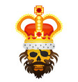 hairy pirate skull in the royal crown tattoo gold vector image vector image