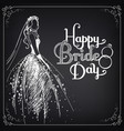 happy bride day vintage poster vector image