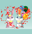 happy valentines day love card a pair of cute vector image vector image