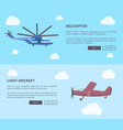 helicopter and light aircraft set of banners vector image vector image
