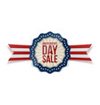 independence day sale emblem with ribbon vector image vector image